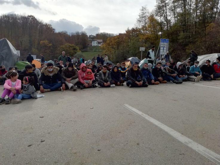 Protest an der bosnisch kroatischen Grenze