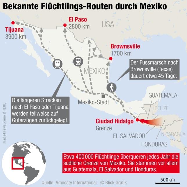 Migrationsrouten durch Mexiko